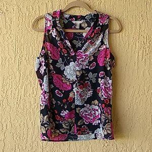 Black floral sheer blouse SzM